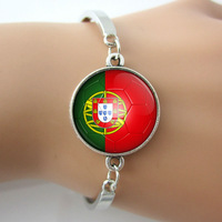 Portugal country flag Commemorative Present metal Bracelets Bangles football team Badge Bangle silver,rhodium plated 5 pcs