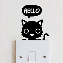 DIY Cat Switch Stickers Removable Wall Stickers Kids Room Decoration Wholesales with Free Shipping(China (Mainland))