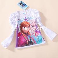 Wholesale Girl's Frozen T shirt Child Girls Long Sleeve T-shirt Autumn Clothes Kids Tops 2014 Fashion Cartoon Tees 5pcs/lot