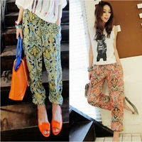 Bohemia wide leg pants loose sports pants elastic harem pants casual pants chiffon trousers female