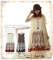 2014 summer dress print patchwork gauze lace sleeveless summer one-piece dress mori style