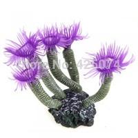 Free Shipping 1 pcs Purple Aquarium Fish Tank Silicone Artificial Sea Plant Coral Flower Ornament