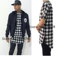 Tyga L K oversized long zipper tee shirt hip hop swag skateboard designer  tartan plaid flannel zipper extended tee shirt pyrex