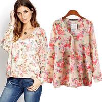 (Free Shipping) 2014   Women's Girls Cross Shape V-neck Red Flower Print   Blouse Ladies fashion  shirt