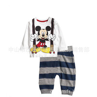 free shipping 6 sets/lot baby girls boys grey mouse print pajamas set children cartoon sleepwear brand clothing set #10