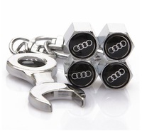1set/lot auto automobile wheel tire tyre valve cap cover AOD wrench keychain key chain ring car emblem badge logo covers caps