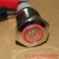 16mm Red Power Symbol&angle eye 12V LED Push Button Metal ON/OFF Switch