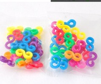100bags/lot colorful S-clips Loom rubber bands DIY loom kit Band bracelet accessories  1bag 24pcs colorful s clips