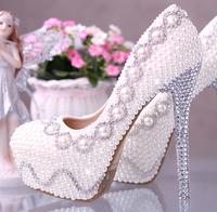 New arrival fashion pearl crystal wedding shoes bridal women pumps high heels sapato platsform ladies shoes Eur34-39