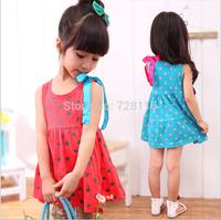 (5 pieces/lot)  girls Pure color wave point dresses Girls vest cotton dot dress girls Vest dot lace bowknot dresses