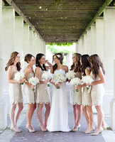 2014 New Mermaid Strapless Sleeveless Zipper Short Mini Lace Bridesmaid Dresses with Sash KM-329 Custom Size 2 4 6 8 10 12 14 16