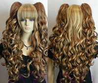 "24"" Long wavy curly pony pig tail blonde yellow brown mix full hair Two Ponytails wig no Lace Front Wig Heat Resistant"