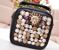 2014 New Women's Travel Backpack PU Leather Black Backpack