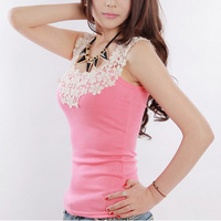 Fashion charm sleeveless Bodycon Temperament Hollow Lace Top quality women lace tank top 8colors