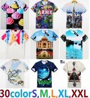 3D02 free shipping cotton men women 3D Animal flowers landscape architecture t shirt tees tops  boys t-shirt clothing tshirt