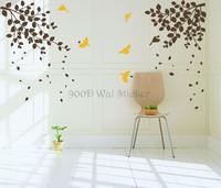 New 2014 wall stickers home deco tree & birds,DIY tree vinyl home decoration, wall art tree  free shipping