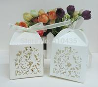 laser cut candy box ,small love bird candy box .wedding box.baby box with ribbon(5*5*7.5H cm