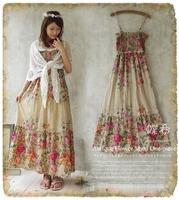 Luxury 2014 flowers spaghetti strap one-piece dress flowery long dress mori girl