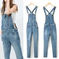 2014 New Summer Autumn Girl's Denim Hole Jumpsuit Overalls Jeans Long Pants Playsuit Rompers Tight Slim Trousers Plus size XL