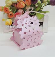 laser cut candy box ,pink flower candy box .wedding box