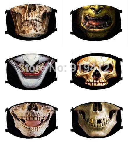 Top Quality Autumn Winter Men Women Funny 3D Skull Design Pattern Cotton Windproof Anti Dust Black Fashion Face Mask Warm Masks(China (Mainland))