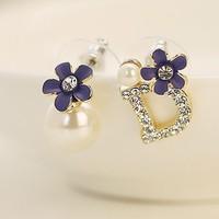 Wholesale New 2014 Korean Style Fashion Pearl Letter D Flower Stud Earrings Asymmetric Daisy Flower Earrings For Women ED046