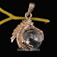 Clear Quartz Crystal Bead Dragon's Talons Pendant Jewelry Free shipping S1199