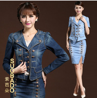 Exquisite women jeans dress in blue ,fashion autmun,spring silm 2 Piece suit shirt & skirt high quality jean coat