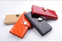 women wallet genuine leather fashion long design lattice pattern female purse womens leather wallets money clip