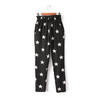 2014 summer new women pentagram print chiffon harem pants casual trousers #4150