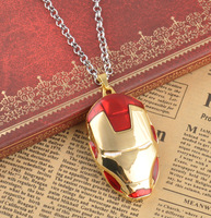 Freeshipping Marvel Super Hero,20pcs/lot Iron Man 3 Mask necklace Metal Pendant c.