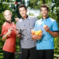 Cook suit short-sleeve double breasted male female meters work wear chefs uniform doormen uniform waiter uniform