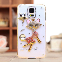 Free Shipping,new arrival bling diamond rhinestone fox protective case cover for samsung galaxy s5 i9600 SIV case 2014