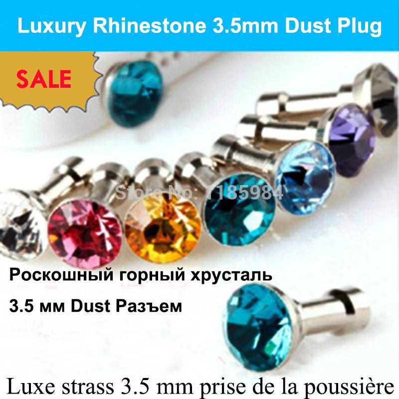 5pcs/lot Small Diamond Rhinestone 3.5mm Dust Plug Earphone Plug Luxury Phone Accessories jewelryFor iphone /Samsung/LG/Sony/Moto(China (Mainland))