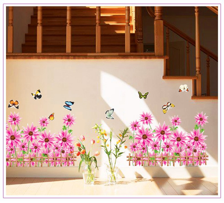 1pcs Korean fashion diy nursery bedroom wall stickers decorative glass window baseboard Sunflower (China (Mainland))