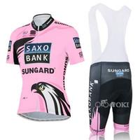 2012 Saxo Bank Women's Short Sleeve Cycling Jersey and Cycling Bib Shorts Kit Women Cycling Clothing Size:XS-XXXL Free Shipping