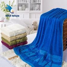 large 1pc 100% bamboo fiber140x70CM printed blue Bath towel set for adutls bathroom super soft large BATHROOM beach Towels B0022(China (Mainland))