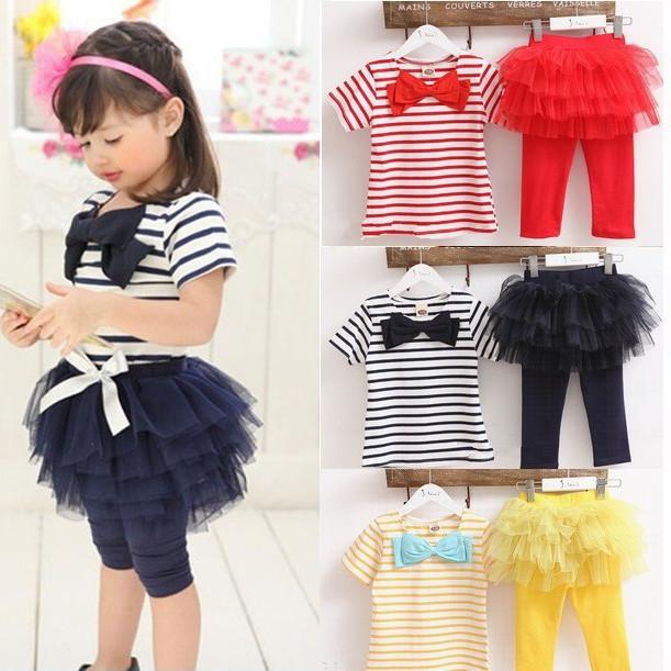 AliExpress.com Product - free shipping Kids set summer wear Short sleeve set Children clothing suit t shirt+pants girls apparel suit