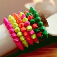 2014 Bracelets Bangles New European Rivet Design Big Candy Bracelet Stretch Singles Row Trumpet Fluorescent Color 9 Optional