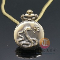 Free shipping simple nostalgic 12 zodiac necklace pendant watch men and women students snake motif Necklace Watch
