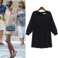 XXXL 4XL 5XL Plus Size Lace Dress Women Clothing Lantern Sleeve Hollow Out Dot Stripe European Fashion New 2014 White Black