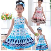 Girls Dress cute peacock color sleeveless princess dress circle Blue children's clothing New