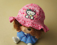 Free Shipping- nice cotton hello kitty pink fishing hat, KT sun hat(MOQ: 5pcs)