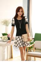 2014 new Women's classic plaid summer dress Stitching Slim Round Neck Short-Sleeved Dress.
