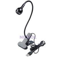 NI5L USB Flexible 3 LED Light Desk Lamp with Clip for Laptop PC Computer Black