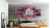 Stretched oil painting canva Ready to Hang Big Size Purple Landscape Quality handmade home office hotel wall art decor free ship