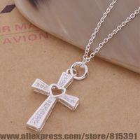 AN167 925 sterling silver Necklace 925 silver fashion jewelry pendant cross heart /dswamkda esaanjha