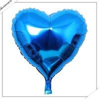 10pcs Happy Birthday Decoration Frozen  Blue Heart Balloon for Kids Party Supplies Foil Ballon ,18 inch