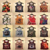 2014 Summer Women's 3d T-shirt New Tees fashion design print animal/sexy nude 3d t shirt cartoon cotton Tshirt  44 model B7864