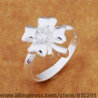 AR642 925 sterling silver ring, 925 silver fashion jewelry, leaf inlaid transparent stone /bheajyla dxbamoia